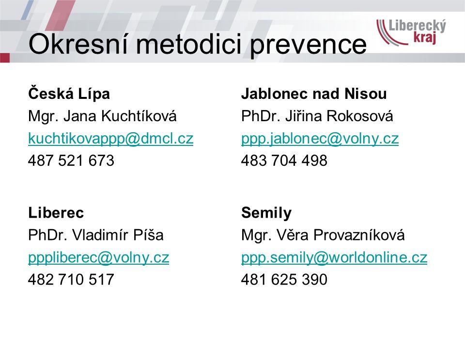 Okresní metodici prevence Česká Lípa Mgr. Jana Kuchtíková kuchtikovappp@dmcl.cz 487 521 673 Jablonec nad Nisou PhDr. Jiřina Rokosová ppp.jablonec@voln