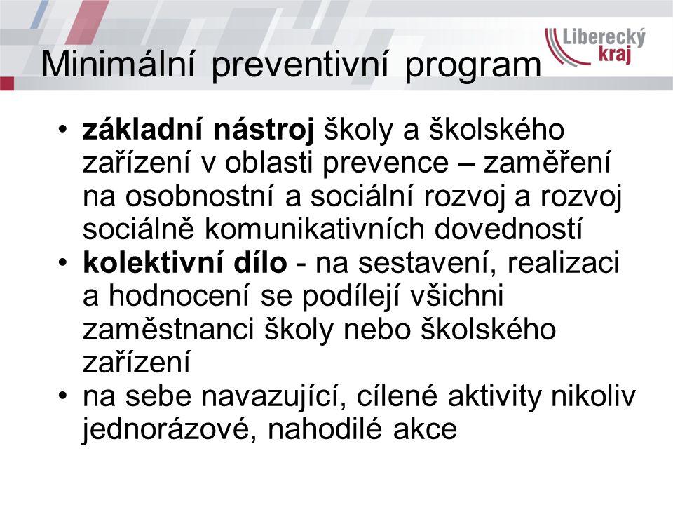 Minimální preventivní program základní nástroj školy a školského zařízení v oblasti prevence – zaměření na osobnostní a sociální rozvoj a rozvoj sociá