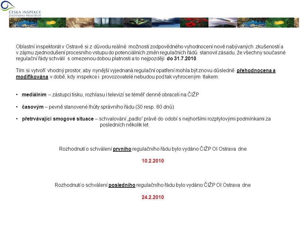 Oblastní inspektorát v Ostravě si z důvodu reálné možnosti zodpovědného vyhodnocení nově nabývaných zkušeností a v zájmu zjednodušení procesního vstup
