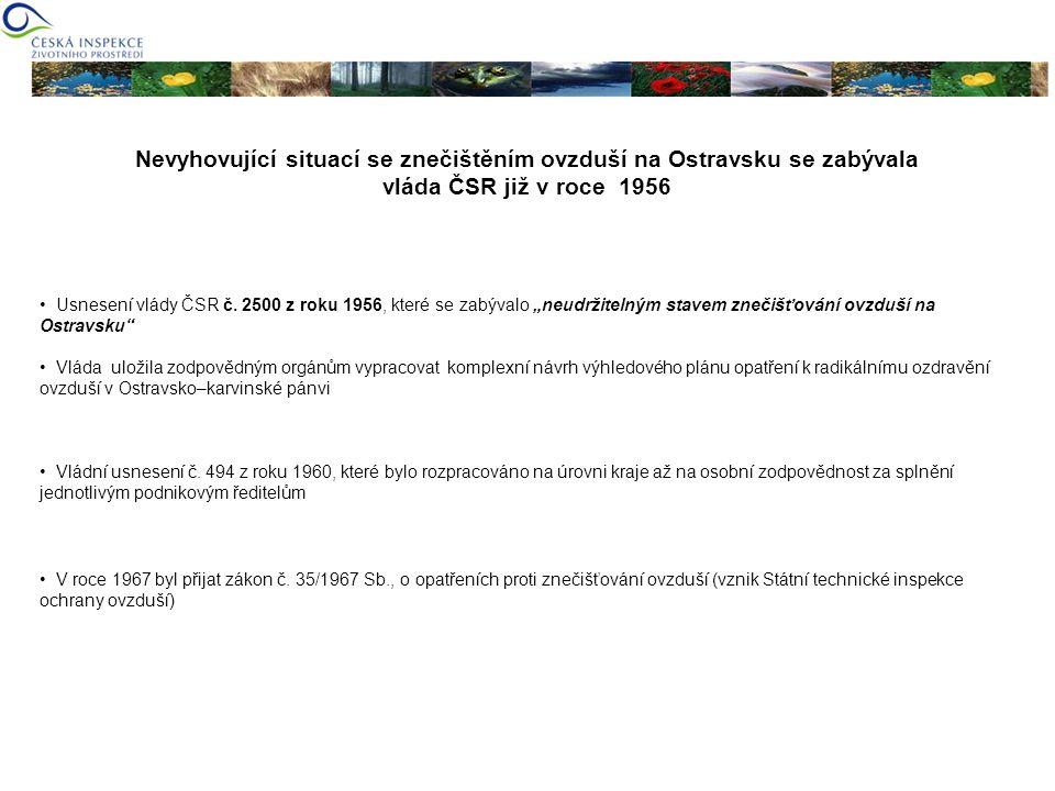 Nevyhovující situací se znečištěním ovzduší na Ostravsku se zabývala vláda ČSR již v roce 1956 Usnesení vlády ČSR č. 2500 z roku 1956, které se zabýva