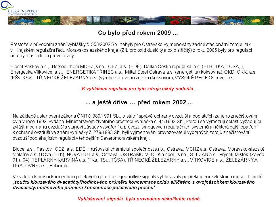 Co bylo před rokem 2009... Přestože v původním znění vyhlášky č. 553/2002 Sb. nebyly pro Ostravsko vyjmenovány žádné stacionární zdroje, tak v Krajské