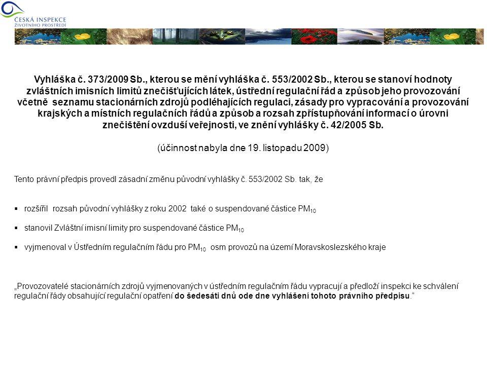 Vyhláška č. 373/2009 Sb., kterou se mění vyhláška č. 553/2002 Sb., kterou se stanoví hodnoty zvláštních imisních limitů znečišťujících látek, ústřední