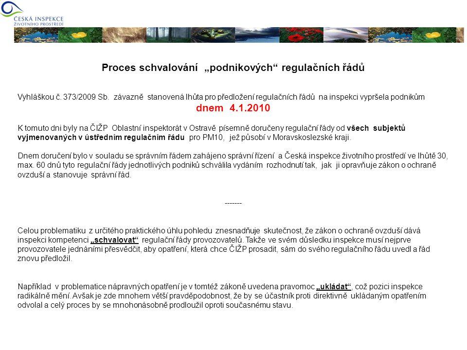 Postup České inspekce životního prostředí V návaznosti na konkrétní zkušenosti a znalosti o těchto zdrojích byla na České inspekci životního prostředí OI Ostrava již v prosinci roku 2009 vytvořena speciální pracovní skupina.