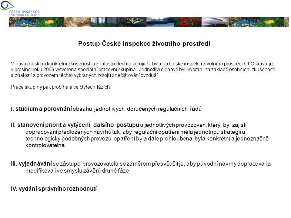 Postup České inspekce životního prostředí V návaznosti na konkrétní zkušenosti a znalosti o těchto zdrojích byla na České inspekci životního prostředí