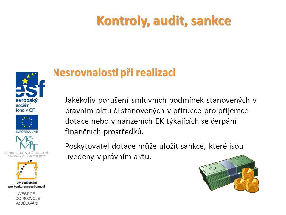 Kontroly, audit, sankce Nesrovnalosti při realizaci Jakékoliv porušení smluvních podmínek stanovených v právním aktu či stanovených v příručce pro příjemce dotace nebo v nařízeních EK týkajících se čerpání finančních prostředků.