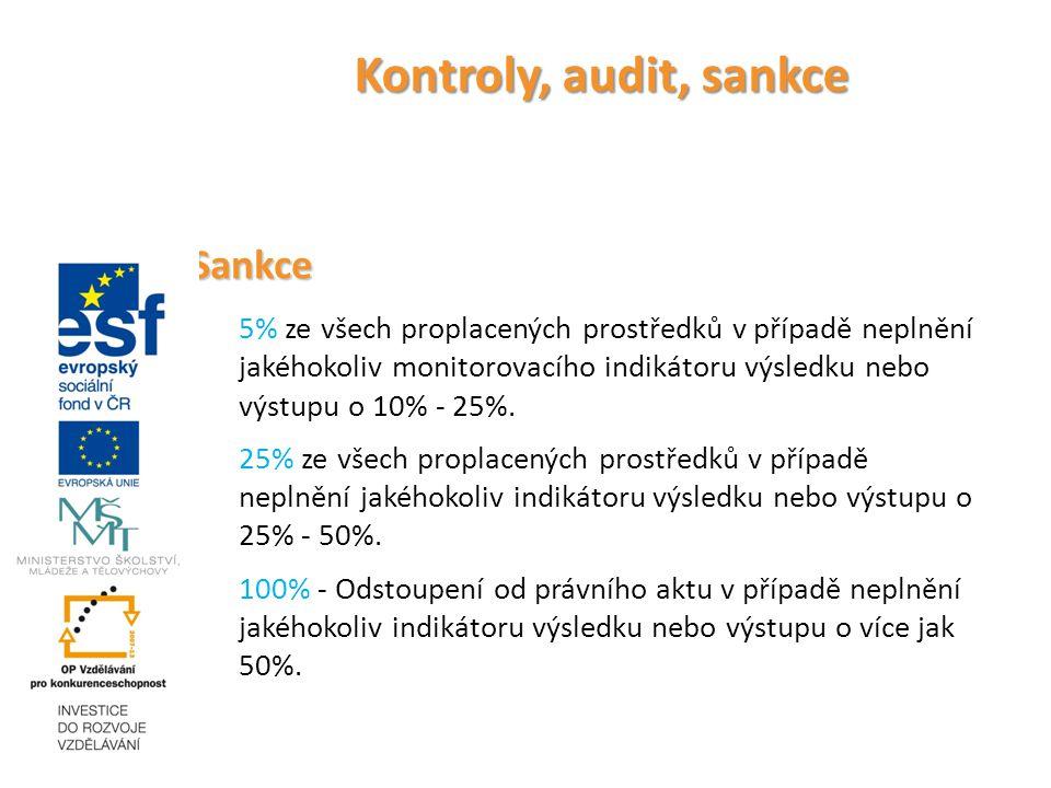 Kontroly, audit, sankce Sankce 5% ze všech proplacených prostředků v případě neplnění jakéhokoliv monitorovacího indikátoru výsledku nebo výstupu o 10% - 25%.