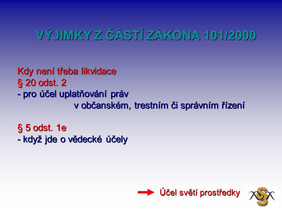 VÝJIMKY Z ČÁSTÍ ZÁKONA 101/2000 VÝJIMKY Z ČÁSTÍ ZÁKONA 101/2000 Kdy není třeba likvidace § 20 odst. 2 - pro účel uplatňování práv v občanském, trestní