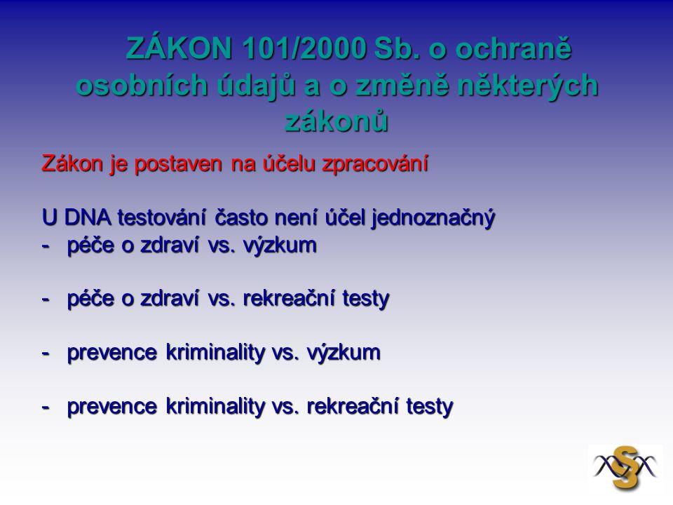 ZÁKON 101/2000 Sb. o ochraně osobních údajů a o změně některých zákonů ZÁKON 101/2000 Sb. o ochraně osobních údajů a o změně některých zákonů Zákon je
