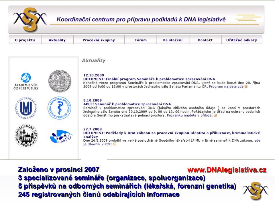 Založeno v prosinci 2007 3 specializované semináře (organizace, spoluorganizace) 5 příspěvků na odborných seminářích (lékařská, forenzní genetika) 245