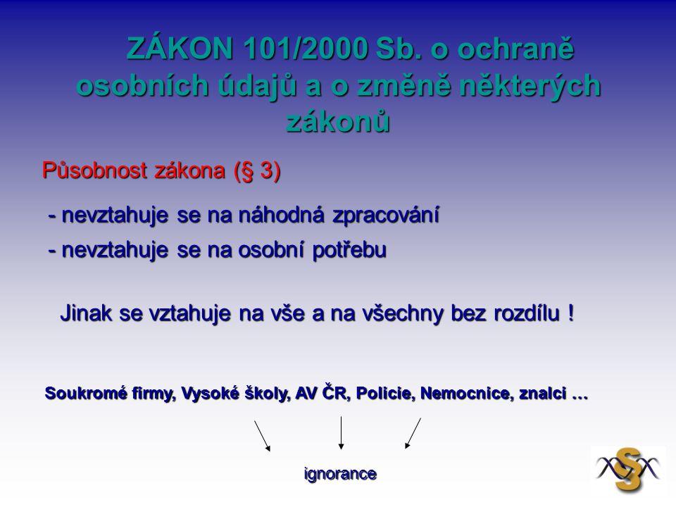 ZÁKON 101/2000 Sb. o ochraně osobních údajů a o změně některých zákonů ZÁKON 101/2000 Sb. o ochraně osobních údajů a o změně některých zákonů Působnos