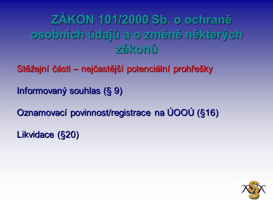 ZÁKON 101/2000 Sb.o ochraně osobních údajů a o změně některých zákonů ZÁKON 101/2000 Sb.