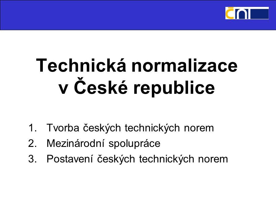Technická normalizace v České republice 1.Tvorba českých technických norem 2.Mezinárodní spolupráce 3.Postavení českých technických norem