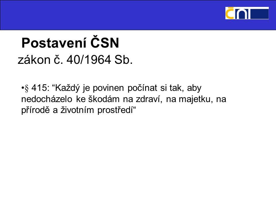 Postavení ČSN zákon č. 40/1964 Sb.