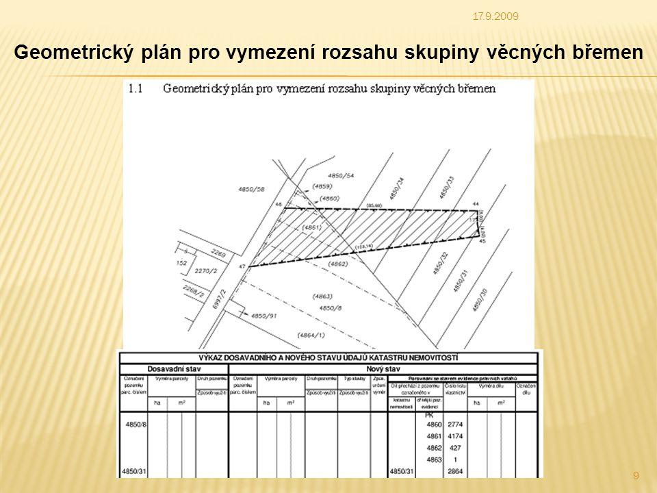 Zákonná ustanovení v současné podobě neumožňují: * Vložit věcná břemena jinak než vkladem na základě smlouvy nebo záznamem na základě rozhodnutí státního orgánu (k.úřed přezkoumá technickou stránku zavedení do KN * Vytvoření jiného grafického podkladu než je záznam podrobného měření změn a následný geometrický plán – není zatím možné 17.9.2009 10