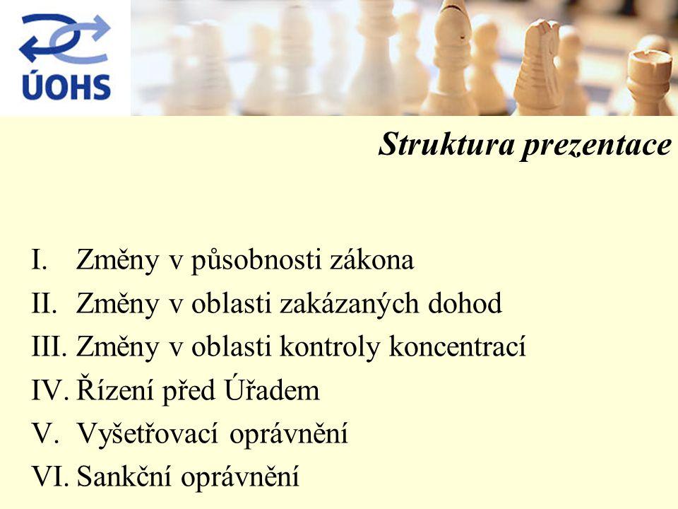 Struktura prezentace I.Změny v působnosti zákona II.