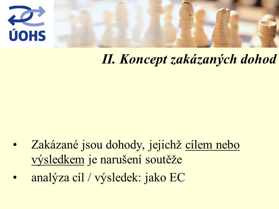 II. Koncept zakázaných dohod Zakázané jsou dohody, jejichž cílem nebo výsledkem je narušení soutěže analýza cíl / výsledek: jako EC