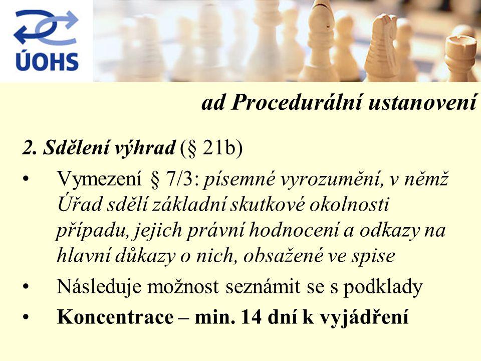 ad Procedurální ustanovení 2.