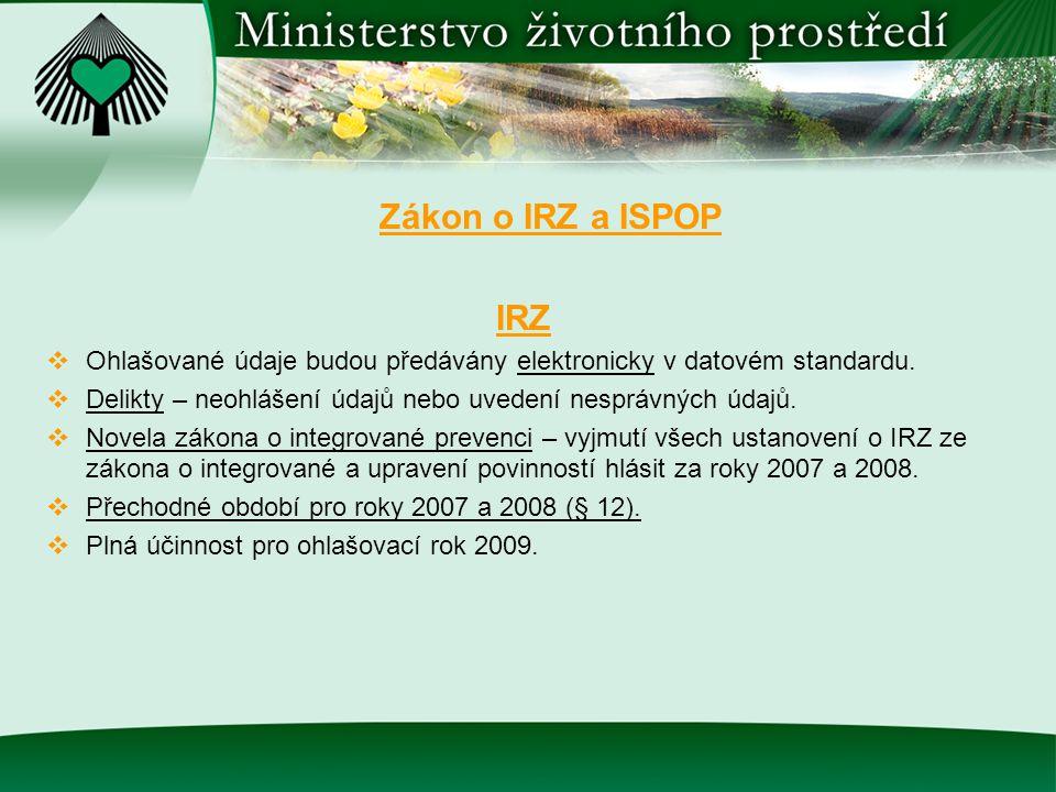 Zákon o IRZ a ISPOP IRZ  Ohlašované údaje budou předávány elektronicky v datovém standardu.  Delikty – neohlášení údajů nebo uvedení nesprávných úda