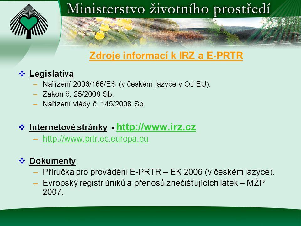 Legislativa –Nařízení 2006/166/ES (v českém jazyce v OJ EU). –Zákon č. 25/2008 Sb. –Nařízení vlády č. 145/2008 Sb.  Internetové stránky - http://ww