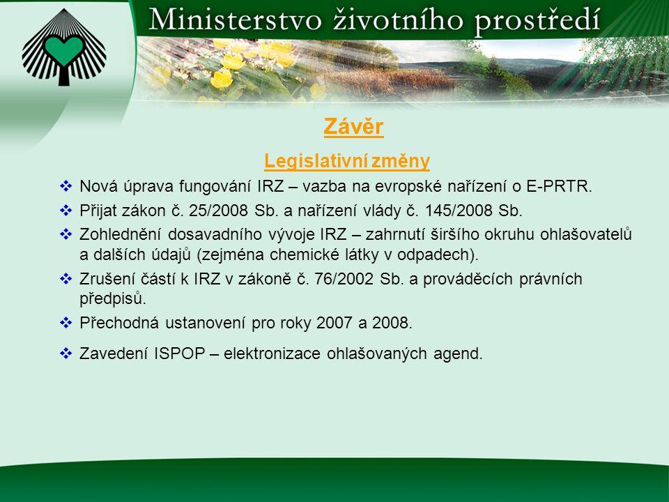 Závěr Legislativní změny  Nová úprava fungování IRZ – vazba na evropské nařízení o E-PRTR.  Přijat zákon č. 25/2008 Sb. a nařízení vlády č. 145/2008