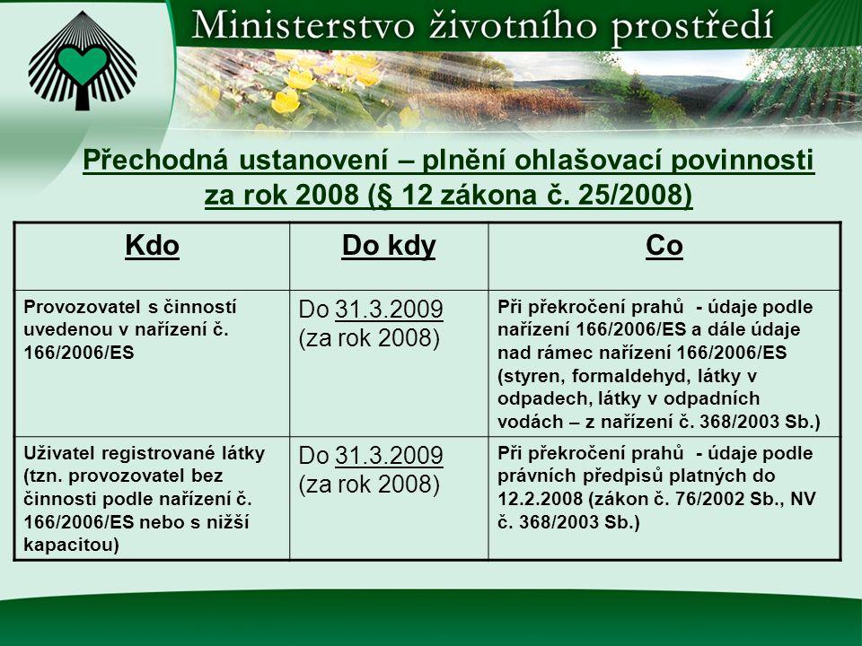 Přechodná ustanovení – plnění ohlašovací povinnosti za rok 2008 (§ 12 zákona č. 25/2008) KdoDo kdyCo Provozovatel s činností uvedenou v nařízení č. 16