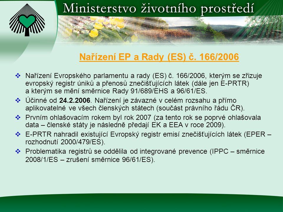 Nařízení EP a Rady (ES) č. 166/2006  Nařízení Evropského parlamentu a rady (ES) č. 166/2006, kterým se zřizuje evropský registr úniků a přenosů zneči