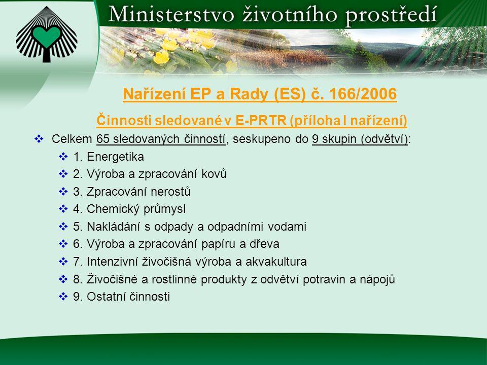 Činnosti sledované v E-PRTR (příloha I nařízení)  Celkem 65 sledovaných činností, seskupeno do 9 skupin (odvětví):  1. Energetika  2. Výroba a zpra