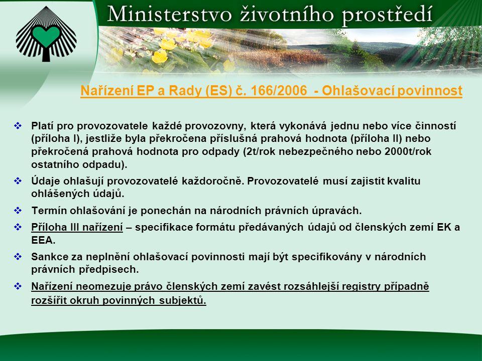 Nařízení EP a Rady (ES) č. 166/2006 - Ohlašovací povinnost  Platí pro provozovatele každé provozovny, která vykonává jednu nebo více činností (příloh