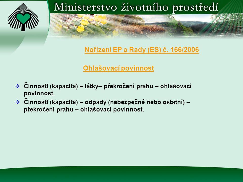 Nařízení EP a Rady (ES) č. 166/2006 Ohlašovací povinnost  Činnosti (kapacita) – látky– překročení prahu – ohlašovací povinnost.  Činnosti (kapacita)