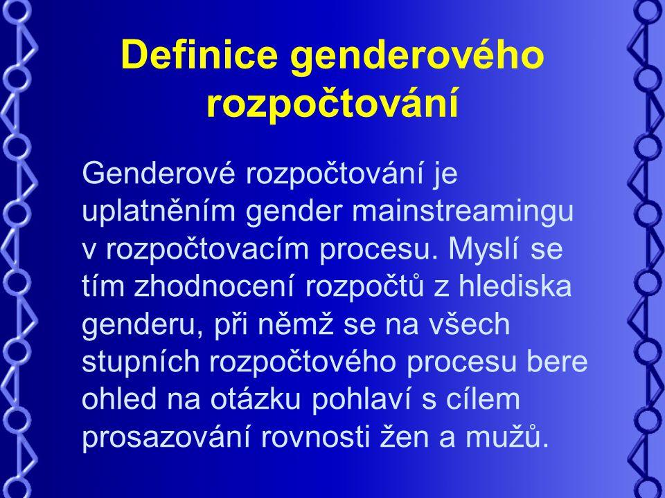 Definice genderového rozpočtování Genderové rozpočtování je uplatněním gender mainstreamingu v rozpočtovacím procesu.