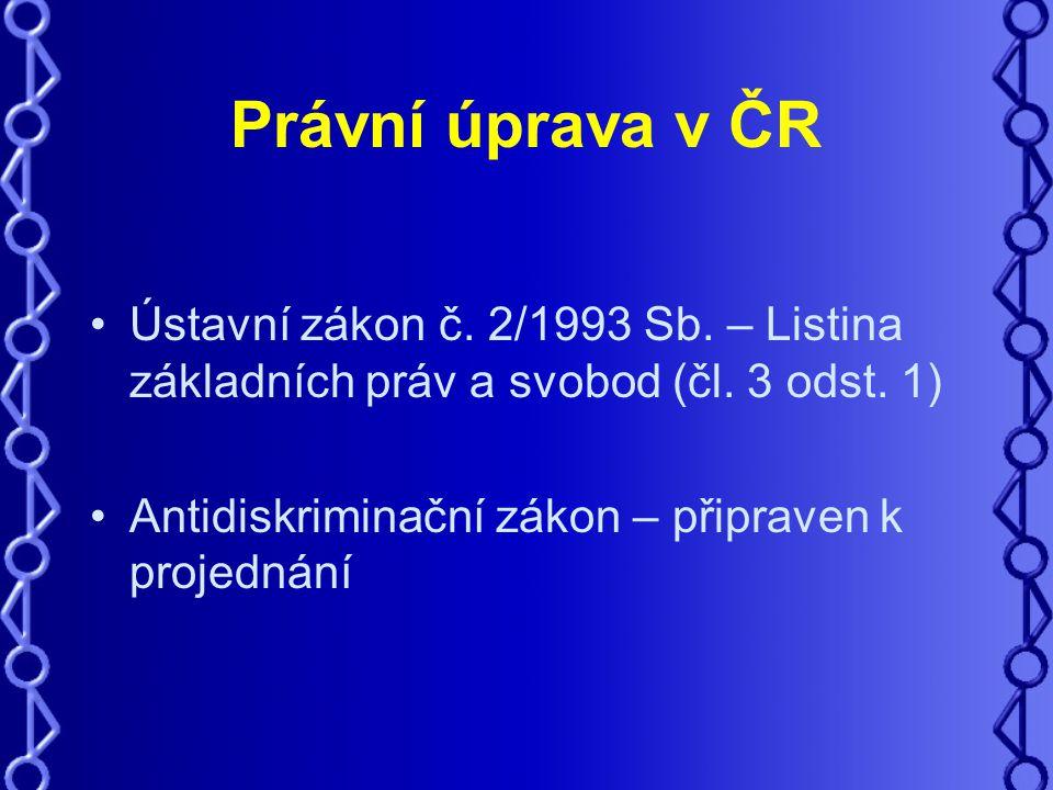 Právní úprava v ČR Ústavní zákon č. 2/1993 Sb. – Listina základních práv a svobod (čl.