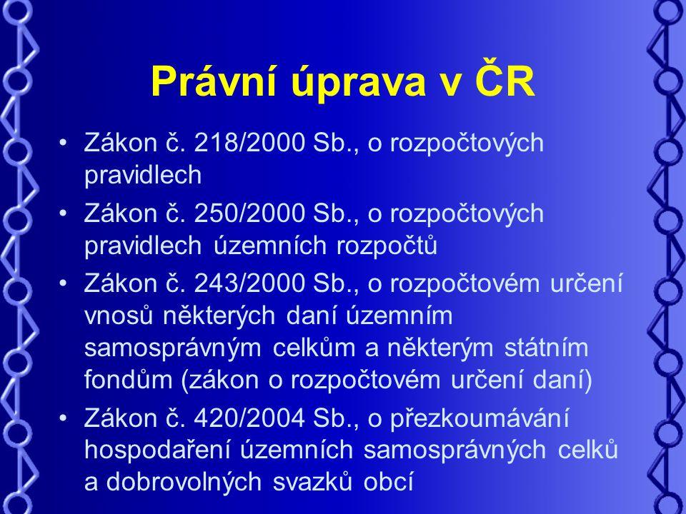 Právní úprava v ČR Zákon č. 218/2000 Sb., o rozpočtových pravidlech Zákon č.