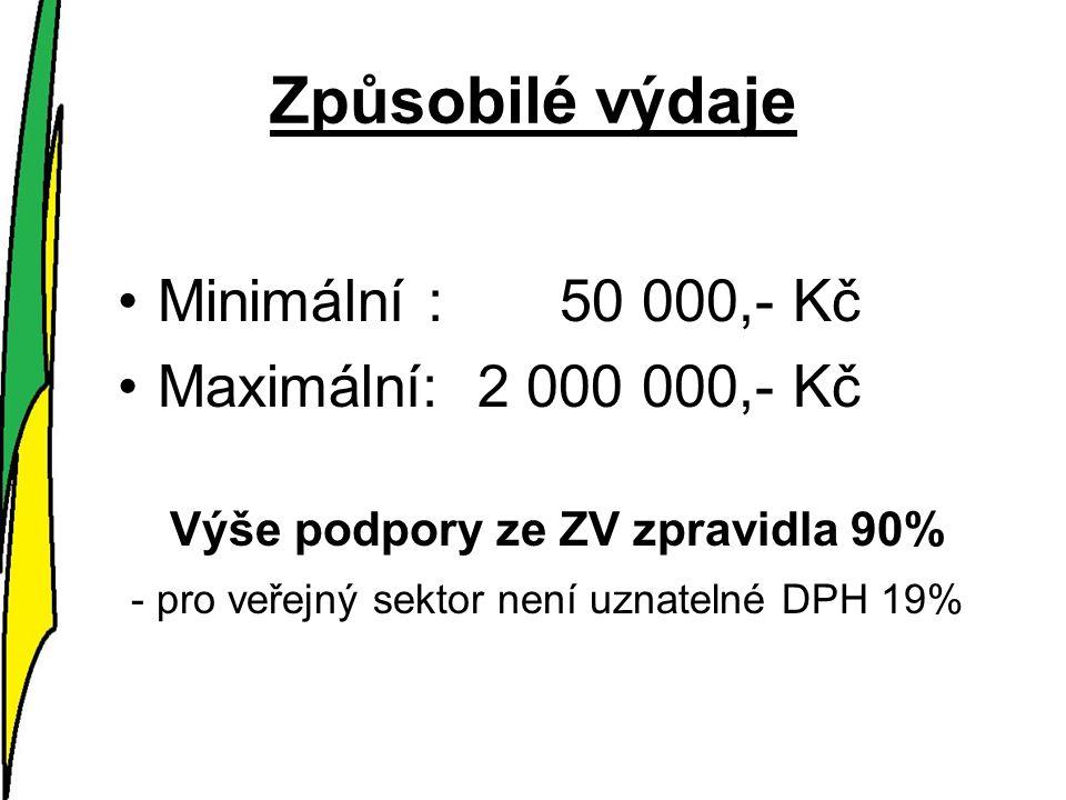 Způsobilé výdaje Minimální : 50 000,- Kč Maximální: 2 000 000,- Kč Výše podpory ze ZV zpravidla 90% - pro veřejný sektor není uznatelné DPH 19%