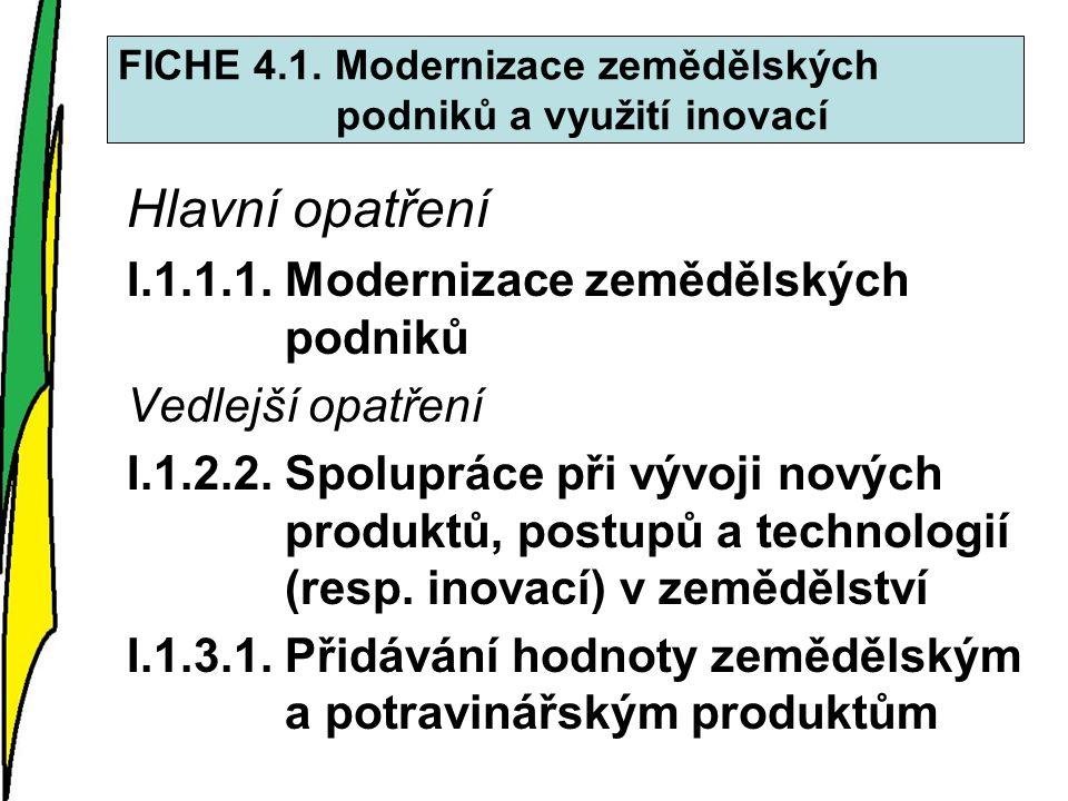 FICHE 4.1. Modernizace zemědělských podniků a využití inovací Hlavní opatření I.1.1.1.