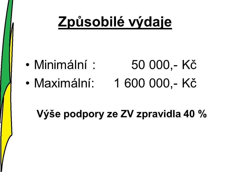 Způsobilé výdaje Minimální : 50 000,- Kč Maximální: 1 600 000,- Kč Výše podpory ze ZV zpravidla 40 %