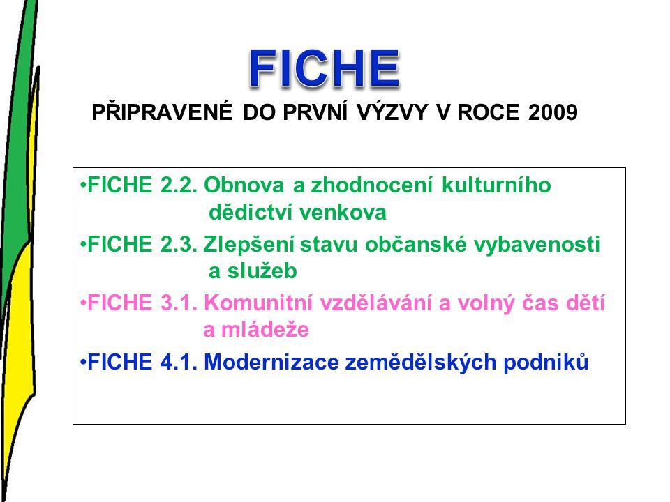 PŘIPRAVENÉ DO PRVNÍ VÝZVY V ROCE 2009 FICHE 2.2.