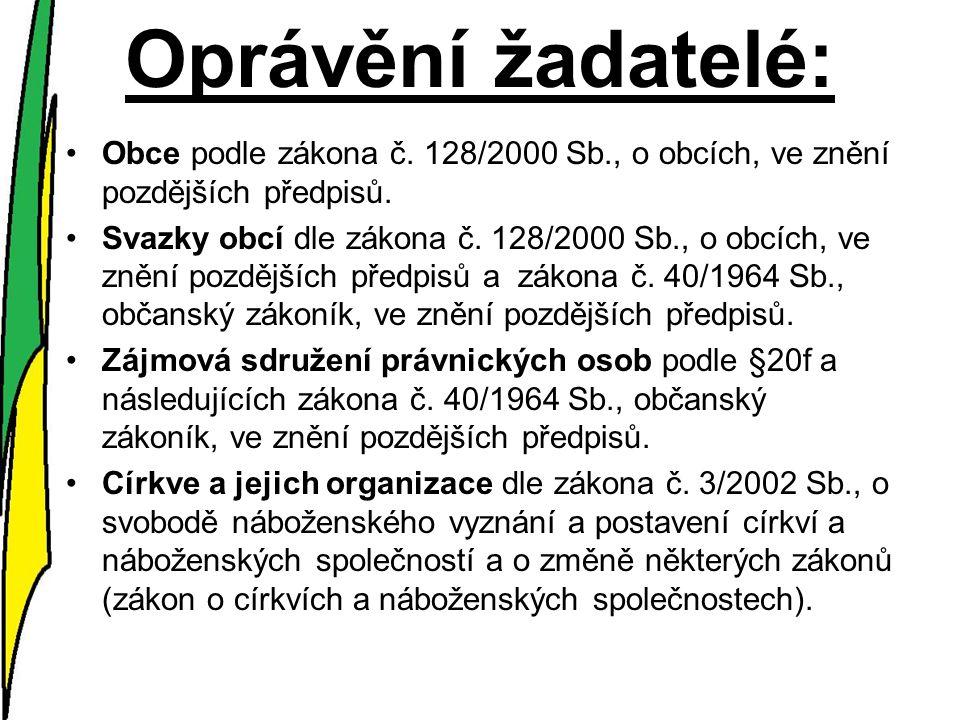 Oprávění žadatelé: Obce podle zákona č. 128/2000 Sb., o obcích, ve znění pozdějších předpisů.