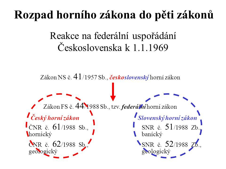 Rozpad horního zákona do pěti zákonů Reakce na federální uspořádání Československa k 1.1.1969 Zákon NS č. 41 /1957 Sb., československý horní zákon Zák