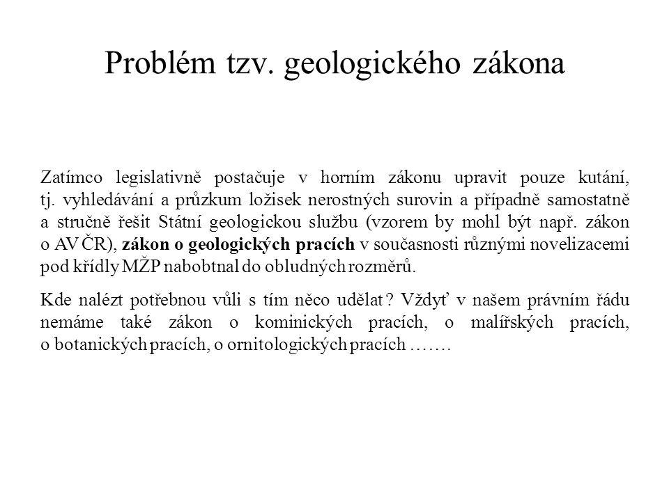 Problém tzv. geologického zákona Zatímco legislativně postačuje v horním zákonu upravit pouze kutání, tj. vyhledávání a průzkum ložisek nerostných sur