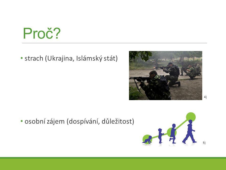 Proč? strach (Ukrajina, Islámský stát) osobní zájem (dospívání, důležitost) 4) 5)