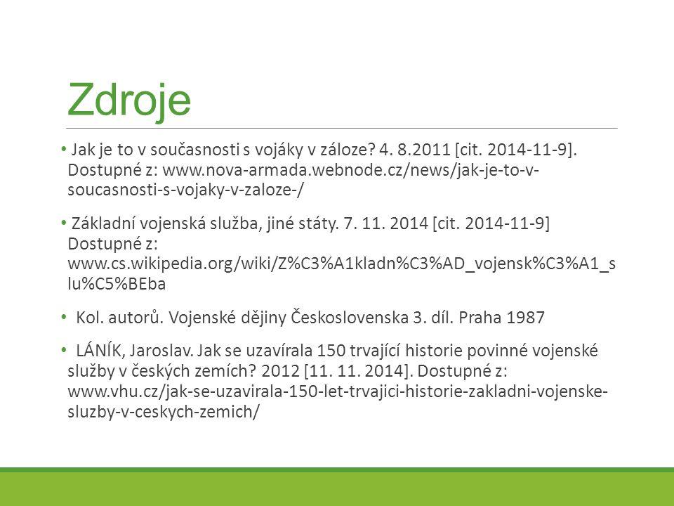 Zdroje Jak je to v současnosti s vojáky v záloze? 4. 8.2011 [cit. 2014-11-9]. Dostupné z: www.nova-armada.webnode.cz/news/jak-je-to-v- soucasnosti-s-v