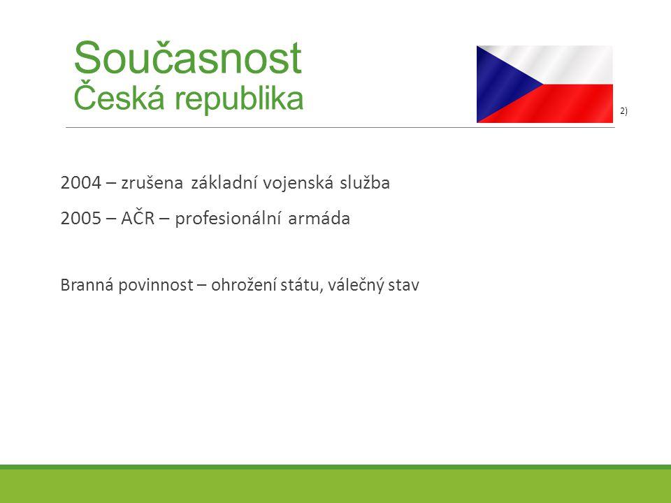 Současnost Česká republika 2004 – zrušena základní vojenská služba 2005 – AČR – profesionální armáda Branná povinnost – ohrožení státu, válečný stav 2