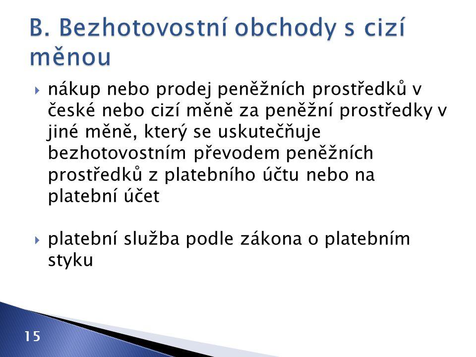  nákup nebo prodej peněžních prostředků v české nebo cizí měně za peněžní prostředky v jiné měně, který se uskutečňuje bezhotovostním převodem peněžn