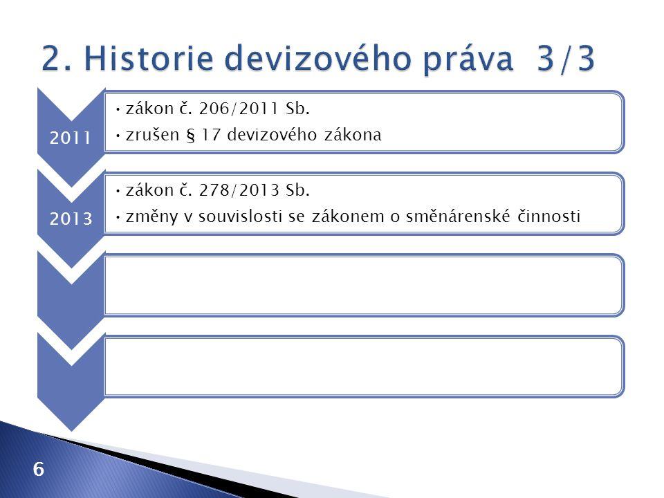 6 2011 zákon č. 206/2011 Sb. zrušen § 17 devizového zákona 2013 zákon č. 278/2013 Sb. změny v souvislosti se zákonem o směnárenské činnosti