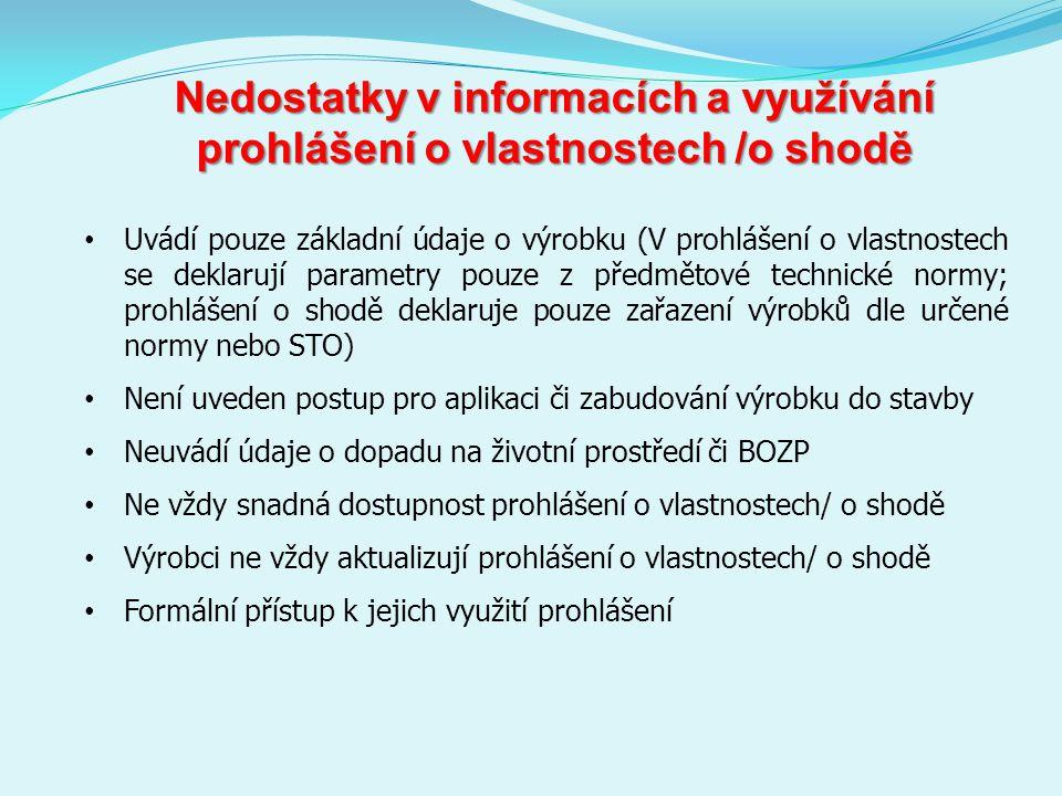 Nedostatky v informacích a využívání prohlášení o vlastnostech /o shodě Uvádí pouze základní údaje o výrobku (V prohlášení o vlastnostech se deklarují parametry pouze z předmětové technické normy; prohlášení o shodě deklaruje pouze zařazení výrobků dle určené normy nebo STO) Není uveden postup pro aplikaci či zabudování výrobku do stavby Neuvádí údaje o dopadu na životní prostředí či BOZP Ne vždy snadná dostupnost prohlášení o vlastnostech/ o shodě Výrobci ne vždy aktualizují prohlášení o vlastnostech/ o shodě Formální přístup k jejich využití prohlášení