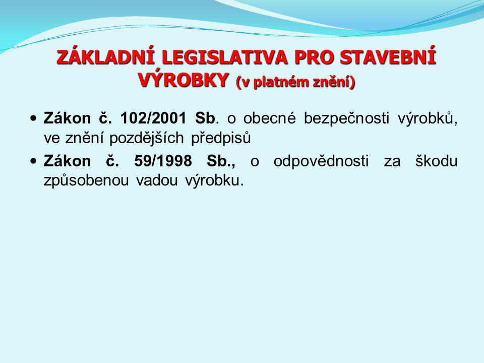 ZÁKLADNÍ LEGISLATIVA PRO STAVEBNÍ VÝROBKY (v platném znění) Zákon č.