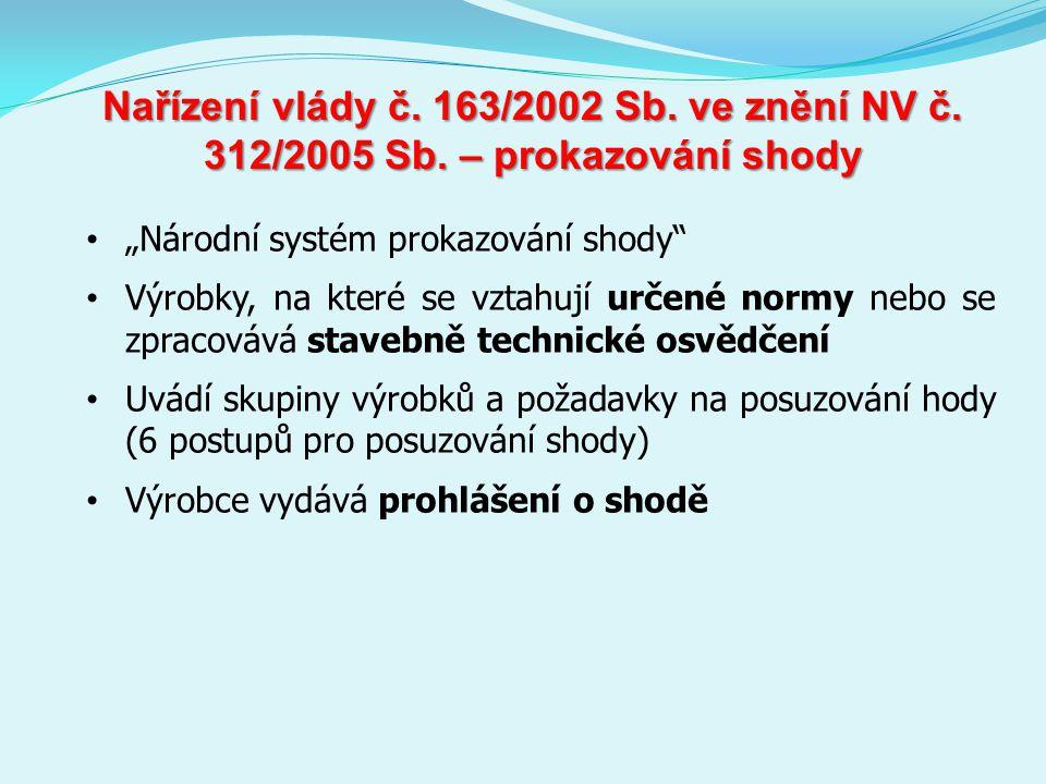 Nařízení vlády č.163/2002 Sb. ve znění NV č. 312/2005 Sb.