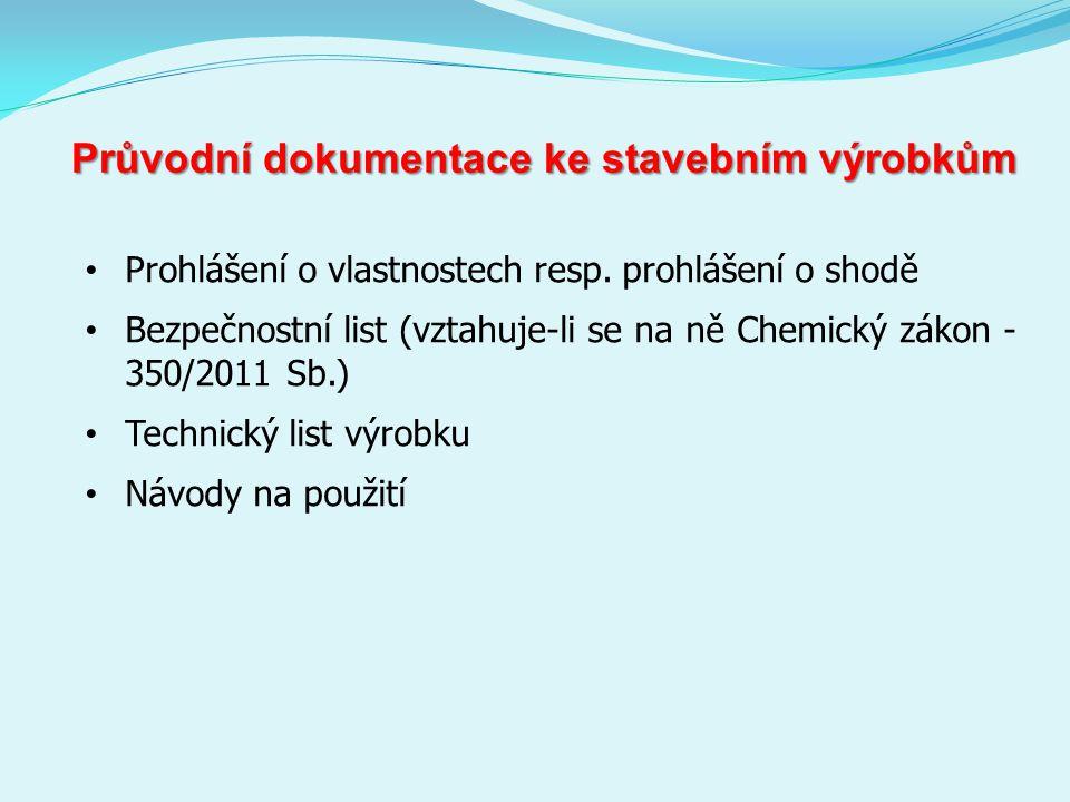 Průvodní dokumentace ke stavebním výrobkům Prohlášení o vlastnostech resp.