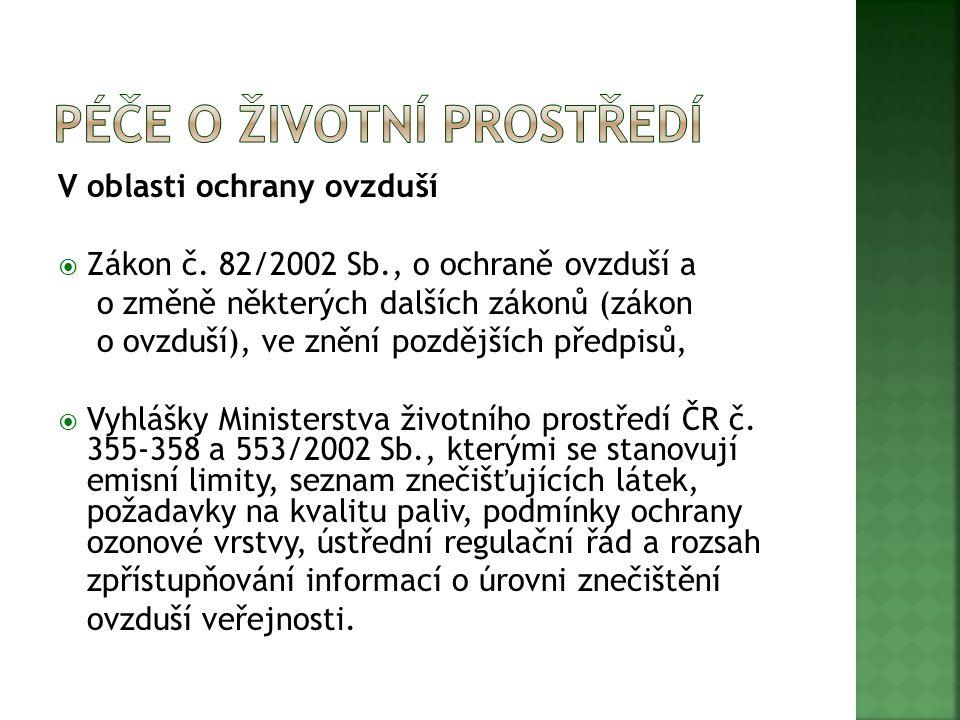 V oblasti ochrany vodního hospodářství  Zákon č.