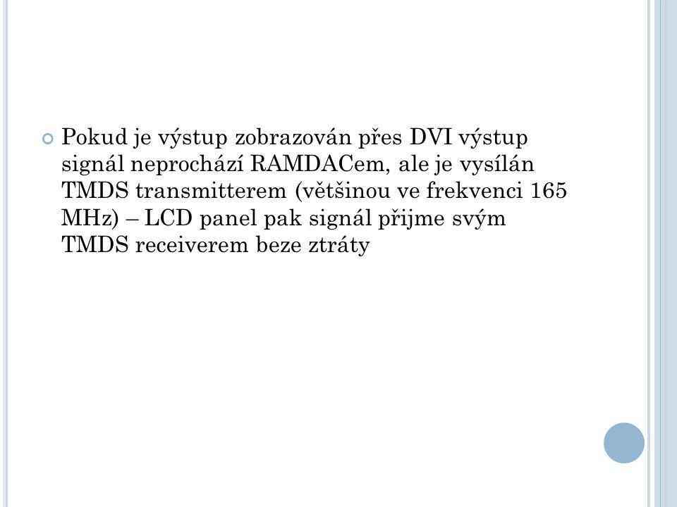 Pokud je výstup zobrazován přes DVI výstup signál neprochází RAMDACem, ale je vysílán TMDS transmitterem (většinou ve frekvenci 165 MHz) – LCD panel p